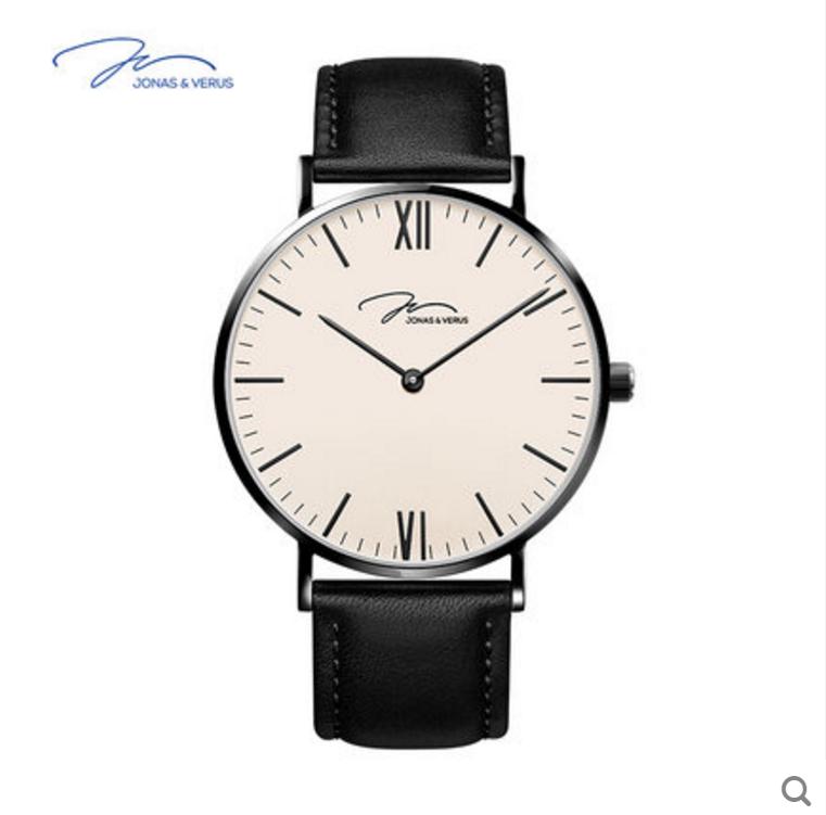JONAS&VERUS唯路时男士手表 时尚简约手表男 超薄真皮石英手表