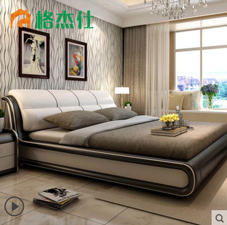 格杰仕真皮床1.8米双人婚床现代简约床主卧榻榻米欧式皮艺床家具