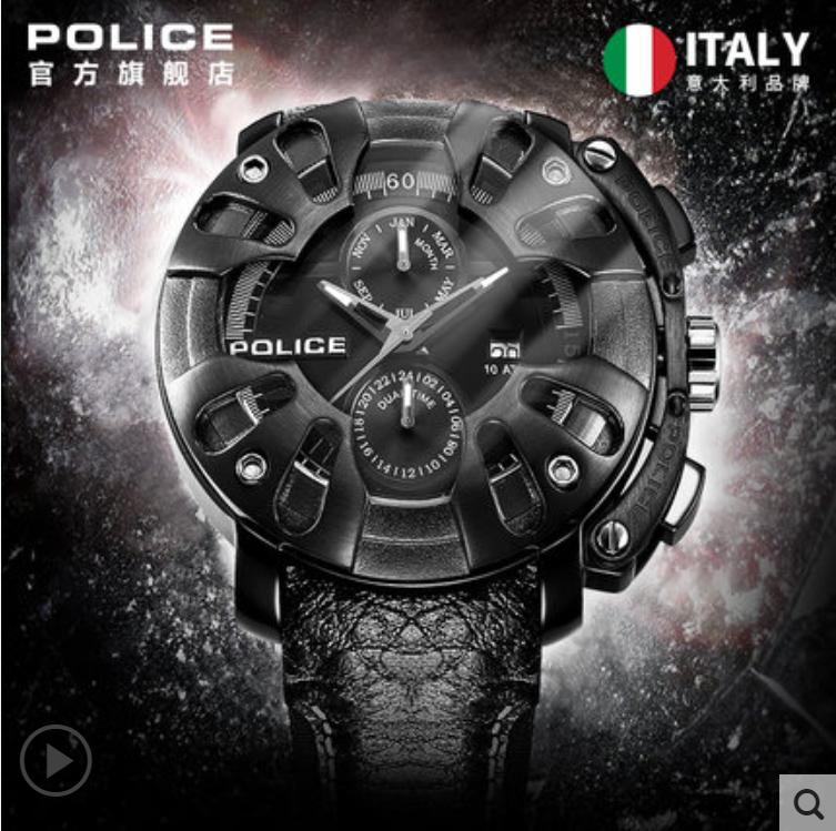 POLICE手表男士腕表石英机芯酷黑朋克多功能皮带男士手表PL.13806